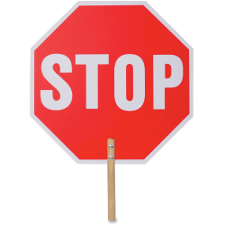 """Tatco Handheld Stop Sign - 1 Each - Stop Print/Message - 18"""" Width x 18"""" Height - White Print/Message Color - Weather Proof, Long Lasting, Lightweight, Comfortable Grip - Wood - Red"""