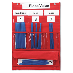 "Learning Resources Pocket Chart, 17 3/4"" x 13"", Counting And Place Value, Grades 1 And Up"