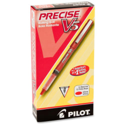 Pilot® Precise™ V5 Liquid Ink Rollerball Pens, Extra Fine Point, 0.5 mm, Red Barrel, Red Ink, Pack Of 12