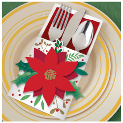 """Amscan Christmas Poinsettia Deluxe Cutlery Holders, 7-1/2"""" x 4-3/4"""", Pack Of 48 Cutlery Holders"""