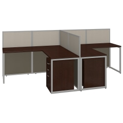 "Bush® Business Furniture Easy Office 2-Person L Desk Open Office With Two 3-Drawer Mobile Pedestals, 44 7/8""H x 60 1/25""W x 119 9/10""D, Mocha Cherry, Standard Delivery"