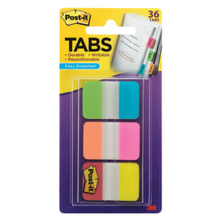"Post-it® 1"" x 1 1/2"" Durable Index Tabs, Assorted, 6 Tabs Per Pad, Pack Of 6 Pads"