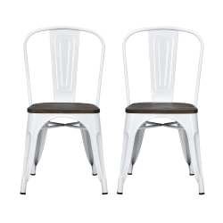DHP Fusion Dining Chairs, Brown/White, Set Of 2
