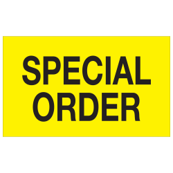 """Tape Logic® Preprinted Special Handling Labels, DL1168, Special Order, Rectangle, 3"""" x 5"""", Fluorescent Yellow, Roll Of 500"""