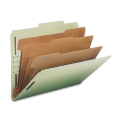 "Nature Saver K-Fastener Classification Folders, 2- Dividers, 2/5"" Tab Cut, Letter Size , Gray/Green, Box Of 10"