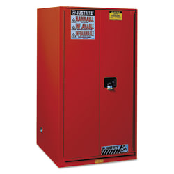 Safety Cabinets for Combustibles, Manual-Closing Cabinet, 96 Gallon, Red