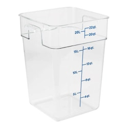 """Cambro Food Storage Container, 15 3/4""""H x 12 7/16""""W x 11 1/4""""D, 22 Qt, Clear"""