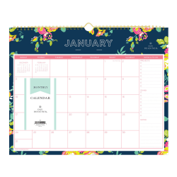 """Day Designer® Monthly Wire-Bound Wall Calendar, 15"""" x 12"""", Peyton Navy, January To December 2021, 103627"""