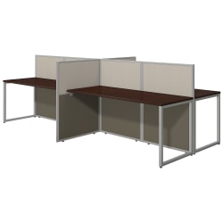 """Bush Business Furniture Easy Office 60""""W 4-Person Cubicle Desk Workstation With 45""""H Panels, Mocha Cherry/Silver Gray, Premium Installation"""