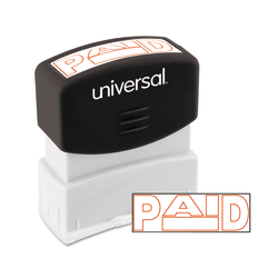 """Universal® Pre-Inked Message Stamp, Paid, 1 11/16"""" x 9/16"""" Impression, Red"""
