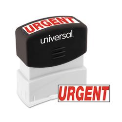 "Universal® Pre-Inked Message Stamp, Urgent, 1 11/16"" x 9/16"" Impression, Red"