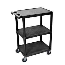 "Luxor Plastic Utilty Cart, 3 Shelves, 80% Recycled, 32 1/2""H x 24""W x 18""D, Black"