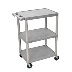 "Luxor Plastic Utilty Cart, 3 Shelves, 32 1/2""H x 24""W x 18""D, Gray"