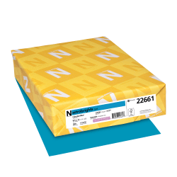 "Neenah Astrobrights® Bright Color Paper, Letter Size (8 1/2"" x 11""), 24 Lb, 30% Recycled, FSC® Certified, Celestial Blue, Ream Of 500 Sheets"
