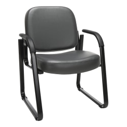 OFM Deluxe Anti-Microbial Vinyl Guest Chair, Gray/Black