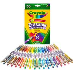 Crayola Erasable Colored Pencils - 3.3 mm Lead Diameter - Thick Point - Assorted Lead - 36 / Pack