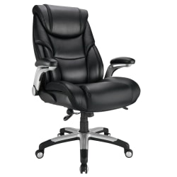 Realspace® Torval Big And Tall Bonded Leather High-Back Computer Chair, Black/Silver