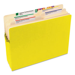 """Smead® Color File Pockets, Letter Size, 5 1/4"""" Expansion, 9 1/2"""" x 11 3/4"""", Yellow"""