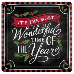 Amscan Christmas Most Wonderful Time Dinner Plates, Multicolor, Pack Of 36 Plates