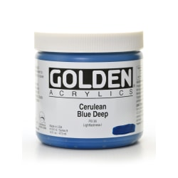 Golden Heavy Body Acrylic Paint, 16 Oz, Cerulean Blue Deep