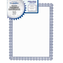 """Geographics Conventional Blue Certificate - 24 lb - 11"""" x 8.50"""" - Inkjet, Laser Compatible - Blue with White Border50 / Pack"""