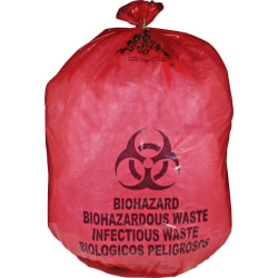 Unimed Red Biohazard Waste Bags, 20-25 Gallons, Box Of 50