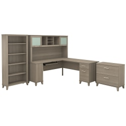 """Bush Furniture Somerset 72""""W L Shaped Desk With Hutch, Lateral File Cabinet And Bookcase, Ash Gray, Standard Delivery"""