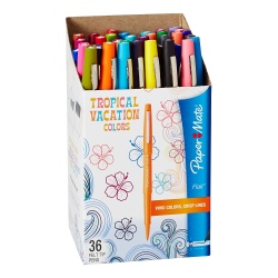 Paper Mate® Porous-Point Pens, Medium Point, 0.7 mm, Assorted Barrels, Assorted Ink Colors, Pack Of 36