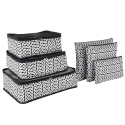 GNBI 6-Piece Packing Cubes And Pouches Set, Black/White