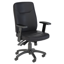 Bush Business Furniture Stanton High-Back Multifunction Bonded Leather Office Chair, Black, Standard Delivery