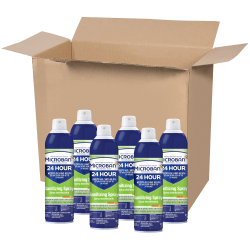 Microban® 24-Hour Disinfectant Sanitizing Spray, Citrus Scent, 15 Oz, Pack Of 6 Cans