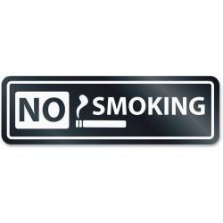 "HeadLine No Smoking Window Sign - 1 Each - No Smoking Print/Message - 8.5"" Width x 2.5"" Height - Rectangular Shape - Self-adhesive, Removable - White, Clear"