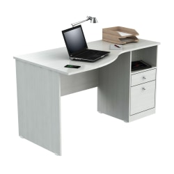 Inval Laura Curved Top Computer Desk, Laricina White