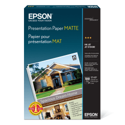 "Epson® Presentation Paper, Matte, 13"" x 19"", 27 Lb, Pack Of 100 Sheets, # S041069"