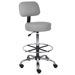 Boss Office Products Medical Drafting Stool, With Backrest, Gray Caressoft
