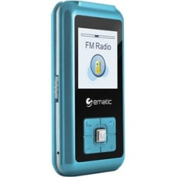 "Ematic EM208VID 8 GB Blue Flash Portable Media Player - Photo Viewer, Video Player, Audio Player, FM Tuner, Voice Recorder, e-Book, FM Recorder - 1.5"" - USB - Headphone"