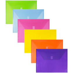 """JAM Paper® Plastic Envelopes With Hook and Loop Closure, 9-3/4"""" x 13"""", No Expansion, Assorted Colors, Pack Of 6 Envelopes"""