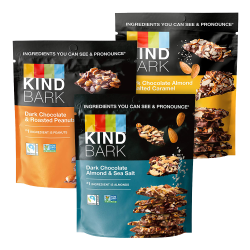 KIND Dark Chocolate Bark Variety Pack, 3.6 Oz, Assorted Flavors, Pack Of 3 Pouches