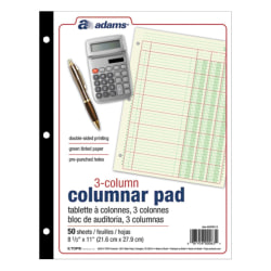 "Adams® Analysis Pad, 8 1/2"" x 11"", 100 Pages (50 Sheets), 3 Columns, Green"
