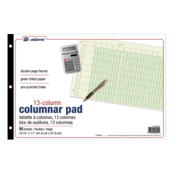 "Adams® Analysis Pad, 16 3/8"" x 11"", 100 Pages (50 Sheets), 13 Columns, Green"