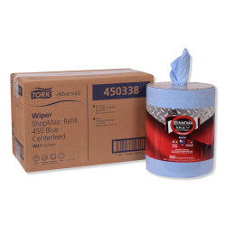 "Tork Advanced ShopMax Wiper 450 Wipes, Centerfeed Refill, 9-15/16"" x 13-1/8"", Blue, 200 Wipes Per Roll, Carton Of 2 Rolls"