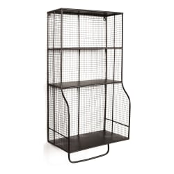 "Linon Home Decor Products Tate Home Office Metal Wall Organizer, 34-1/8""H x 16-15/16""W x 9-11/16""D, Black"