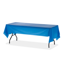 "Genuine Joe Plastic Rectangular Table Covers - 108"" Length x 54"" Width - 24 / Carton - Plastic - Blue"