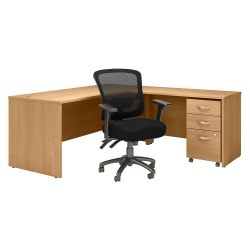 "Bush Business Furniture Components 72""W L-Shaped Desk With Mobile File Cabinet And Mid-Back Multifunction Office Chair, Light Oak, Standard Delivery"