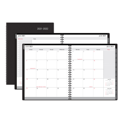 """Office Depot® Brand 18-Month Academic Planner, 9"""" x 11"""", 30% Recycled, Black, July 2021 to December 2022, ODUS2033-014"""