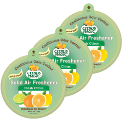 Citrus Magic Solid Air Freshener - Solid - 8 oz - Fresh Citrus - 6 Week - 3 / Pack - Odor Neutralizer