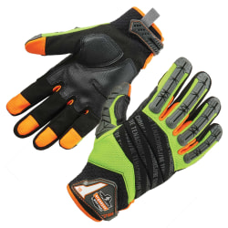 Ergodyne ProFlex 924 Hybrid Dorsal Impact-Reducing Gloves, Extra Large, Lime