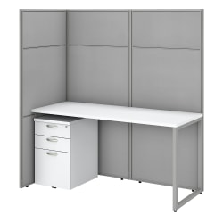 """Bush Business Furniture Easy Office 60""""W Cubicle Desk With File Cabinet And 66""""H Open Panels Workstation, Pure White/Silver Gray, Premium Installation"""