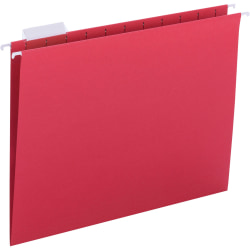"""Business Source 1/5 Tab Cut Letter Recycled Hanging Folder - 8 1/2"""" x 11"""" - Red - 25 / Box"""