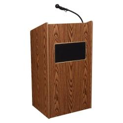 Oklahoma Sound® The Aristocrat Sound Lectern With Sound & Wireless Headset Microphone, Medium Oak